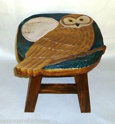 New Wooden Hand Carved Painted Footstool Foot Stool Owl Bird