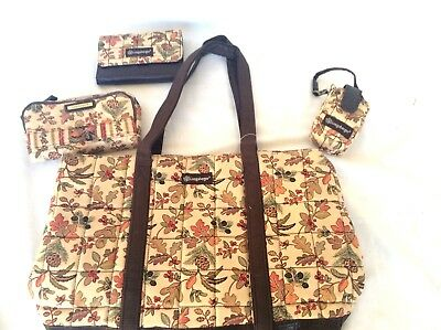 4 pc AUTUMN PATH Purse Tote Wallet Wristlet Cell Case Quilted Longaberger New