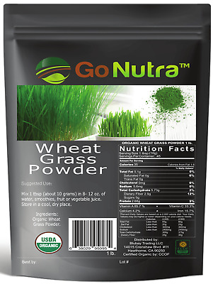 Wheat Grass Powder 1 lb USA Grown & Produced - USDA Certified Organic -Superfood