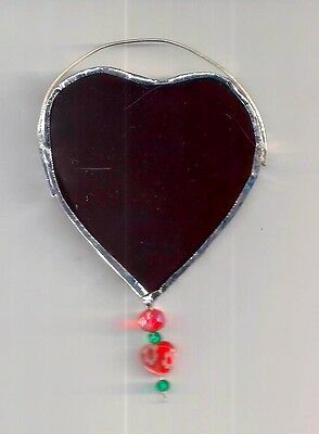Stained Glass Red Heart w jewels NEW Sun Catcher 2.5in for Valentines Day