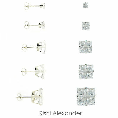 925 Sterling Silver Mens Square 4 Cut Clear CZ Stud Earrings
