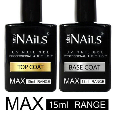 15ml BIG MAX Range Miss Nails® TOP and BASE COAT UV LED Nail Gel Soak Off Polish