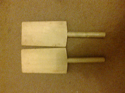 Pair Of Vintage Butter Pats Or Paddles Approx 24Cm Long Ridged One Side Ireland