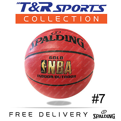 Size 7 Spalding Gold NBA Leather Basketball Ball Indoor/Outdoor Free Postage