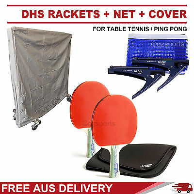 Dhs 5 Star Short Handle Rackets + Dhs Table Tennis Net + Cover Free Post