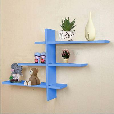 UK Blue Set of 7 Retro T-Shaped Floating Wall Shelves BOOK Storage Shelf Display
