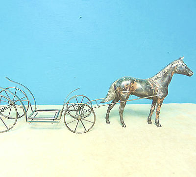 Horse and Wagon Metal standing shelf collectable display decor dark gray color