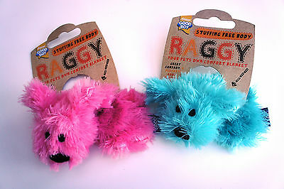Puppy Raggy (no stuffing to body) Blue or Pink Dog Toy with squeaker approx 15cm