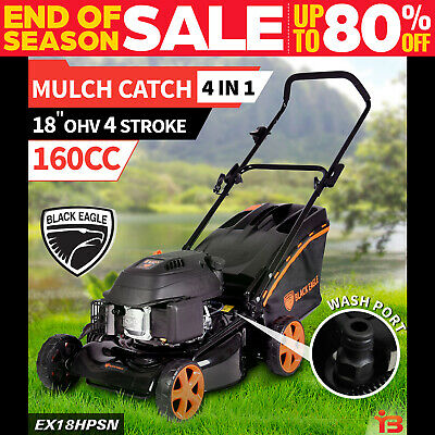 "New Black Eagle Lawn Mower 18"" Hand Push 4 Stroke Petrol Lawnmower Mulch & Catch"