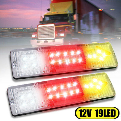 2 Pc 12V 19 Led Rear Tail Stop Indicator Lights Lamp Truck Trailer Lorry Caravan