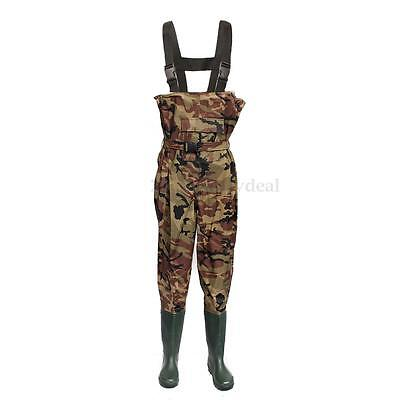 UK 6/7/8/9/10/11/12 100% Waterproof Camo Nylon Coarse Chest Waders Belt Fishing