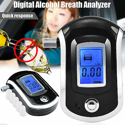 NEW Police Digital Breath Alcohol Tester Analyzer  LCD Breathalyzer Detector UK