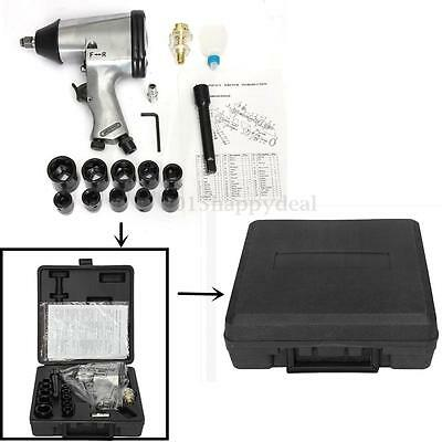 "1/2"" Half Inch Drive Air Impact Wrench Gun Ratchet Compressor Tool + Sockets Kit"