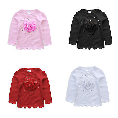 NEW Girls CottonTop/Tees Soft Flower Heart Sz 1-6Yr Pink - Red - White - Black