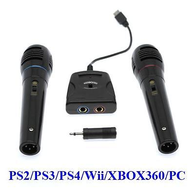 6in1 Mikrofon Set - 2x Mikrofone + Singstar Adapter für PS2 PS3 PS4 Wii XBOX 360