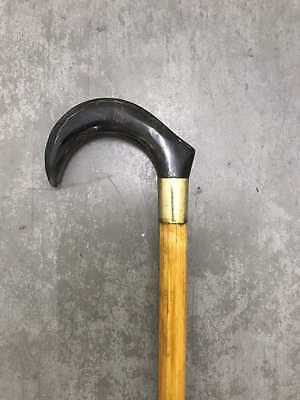 Cane Walking Stick With Real Cow Horn Handle Rubber Toe Fitted