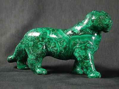 Malachite Lion Carving 3.45lbs Large Natural Gemstone Cat Sculpture Figurine