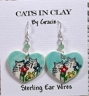 Cats & Flowers Heart Shaped Clay French Wire Earrings Sterling Earwires by GMS