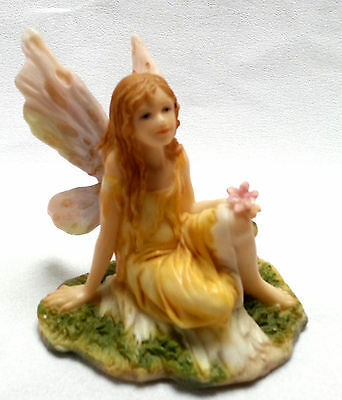 """Fairy Figurine Yellow Dress Pink Wings Flower Sitting in Grass Resin 3"""""""