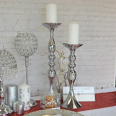 Candle Holder Pillar Silver or White Medium or Large Wedding Table Centrepiece