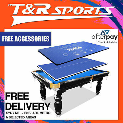 7Ft Blue Slate Snooker Pool Table + Ping Pong + Poker Top Free Syd Mel Bne Post*