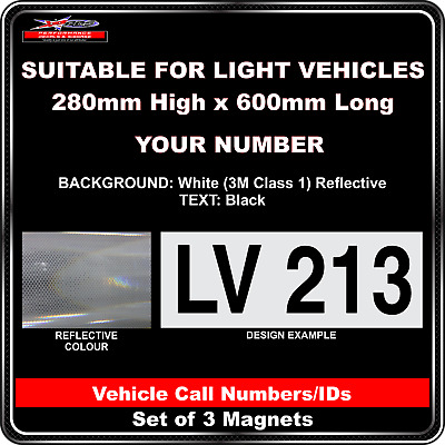 Hi Vis Light Vehicle Call Number/ID Class 1 (White/Black) - 3 Magnet