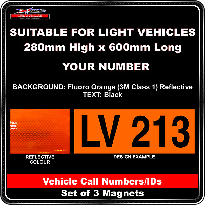 Hi Vis Light Vehicle Call Number/ID Class 1 (Fluoro Orange/Black) - 3 Magnet