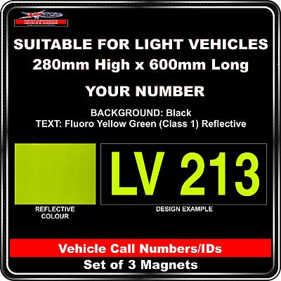Hi Vis Light Vehicle Call Number/ID Class 1 (Black/Fluoro YellowGreen) - 3Magnet