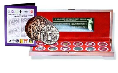 12 Religions Of The Ancient World: 12 Coins In Beautiful Wood Presentation Box