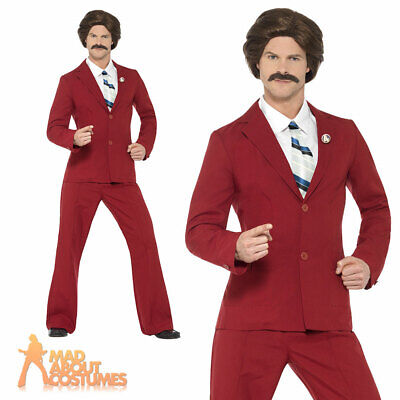Anchorman Costume Ron Burgundy Fancy Dress 70s Newsreader Outfit Licensed  sc 1 st  PicClick UK & NEWSREADER WIG AND Moustache 70s Ron Burgandy Fancy Dress Costume ...