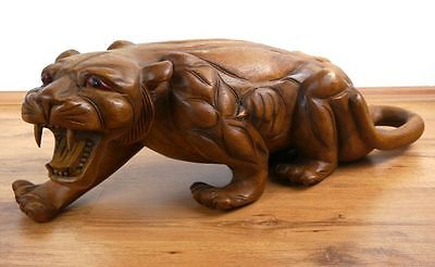 Wooden Sculpture Crouching Jaguar, Beautifully Handcrafted Decorative Accessory