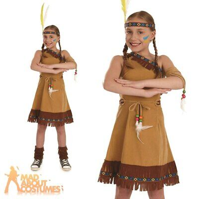 Red Indian Girls Costume Native Squaw Girl Fancy Dress Book Week Day Outfit