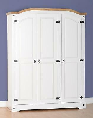 Corona White And Distressed Waxed Pine 3 Door Wardrobe *free Next Day Delivery