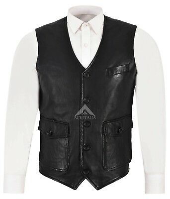 Men's Leather V-Neck Waistcoat Black Classic Fashion Real Lambskin Vest 8834