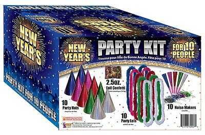 Dazzling Costumes New Year's Eve Party Kit for 10 People Hats Noise Makers Pack