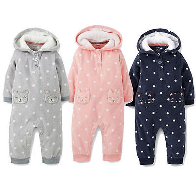 NWT Carters Baby girls Hooded Fleece Jumpsuit Clothes 6 9 12 18 24 months polka