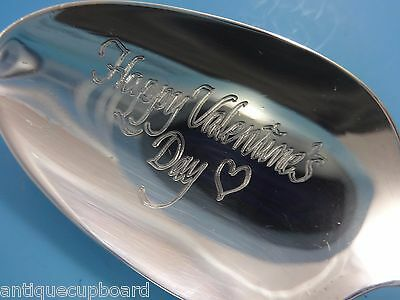 """Sterling Silver """"Happy Valentine'S Day"""" Teaspoon Damask Rose Valentines Day!"""