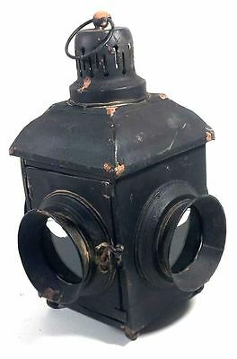 Antique Vintage Style Railway Train Lantern Hurricane Lamp Candle Holder
