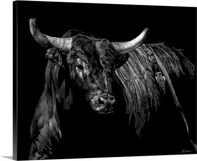 Premium Thick-Wrap Canvas Wall Art entitled Brindle Rodeo Bull