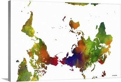 Solid-Faced Canvas Print Wall Art entitled Upside Down Map Of The World Color I