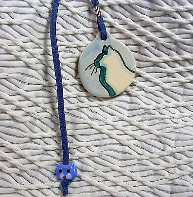 Shades of Blue Cat Silhouette Bookmark Book Thong Handmade Clay by Grace Smith