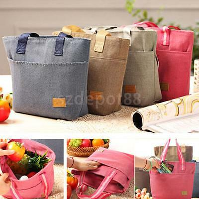 Thermal Insulated Blue Tote Shoulder Picnic Cooler Lunch Storage Box Bag