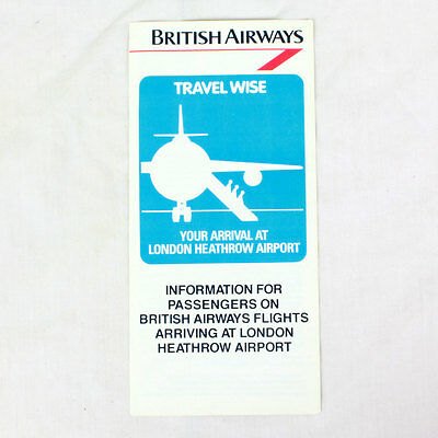 British Airways - Fluglinie Werbe Flieger -Reisen Wise Heathrow Flughafen 1980s