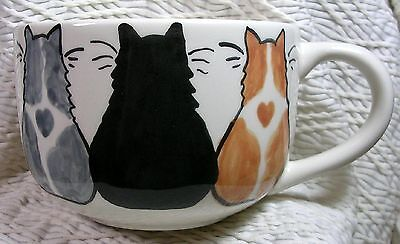 Cat Trio On Ceramic Soup or Latte Mug Handmade by Grace Smith Earthenware Clay