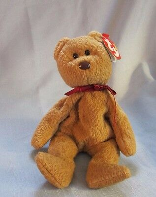 "Ty Beanie Babies Curly Bear Plush 8"" Stuffed Animal"