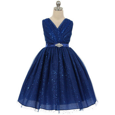 BLUE Flower Girl Dress Wedding Bridesmaid Birthday Formal Party Recital Pageant