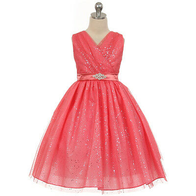CORAL Flower Girl Dress Bridesmaid Wedding Birthday Formal Party Recital Pageant