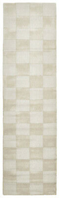 80x400cm Runner Modern Floor Area Rug Wool Beige Checkered Solid Colour FREE SHI