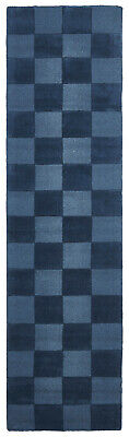 80x400cm Runner Modern Floor Area Rug Wool Blue Checkered Solid Colour FREE SHIP