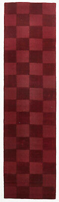 80x400cm Runner Modern Floor Area Rug Wool Red Checkered Solid Colour FREE SHIP